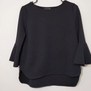 Zara black top with 3/4 Bell sleeves high low